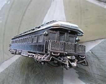 Train Caboose Belt Buckle Silver Tone Railroad Iron Horse