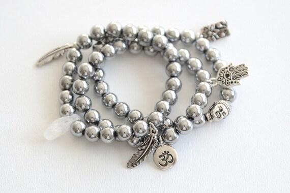 Boho Bracelet Set Gemstone Beaded Bracelet Silver Crystal Charm Bracelet Bohemian Feather Ohm Buddha Hand of Fatima Lotus Yoga Gift for Her