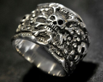 Pirate Ring,Skull Ring,Jack Sparrow Ring, biker,rocker,etsy..925 Large Size