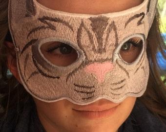Grey/Gray Cat Mask, Embroidered on White Felt