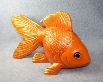 Beautiful ceramic Goldfish hand painted in a deep orange color with a dusting of gold