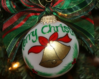 Handpainted Christmas Bells in Gold Personalized Ornament - Made to Order