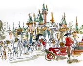 Disneyland Iconic Castle, print of a watercolor sketch, fine art print