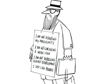 1972 Wall Street Journal Cartoon Portfolio Pepper and Salt 70s Vintage Stock Market Hippies Beards Jokes Financial Cartoons Satire Money