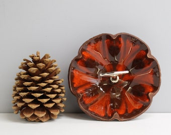 Vintage 1960s drip glaze candy dish - brown and burnt orange flower shaped bowl with center handle - matte faux bois back