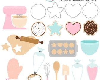 Cookie Baking Clipart Set - cookies clip art, iced cookies, baking, whisk, biscuits - personal use, small commercial use, instant download