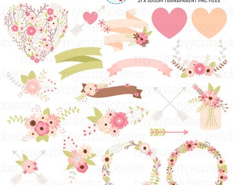 Floral Wedding Clipart Set - flowers, banners, wreaths, arrows, wedding, love, floral - personal use, small commercial use, instant download