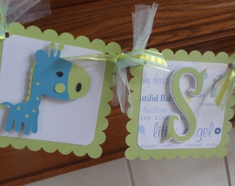 Baby Boy Banner, Baby Giraffe Banner, Sweet Baby BoyBanner, Baby Safari Shower banner, Matching Tissue Poms Are Available