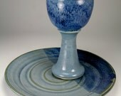 Blue glazed chalice and paten