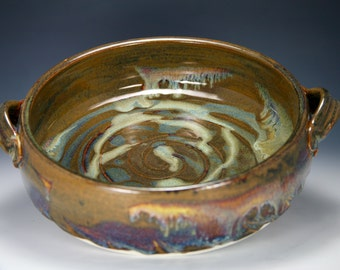 Vintage Neher Pottery Stoneware Apple Baking Dish W Recipe