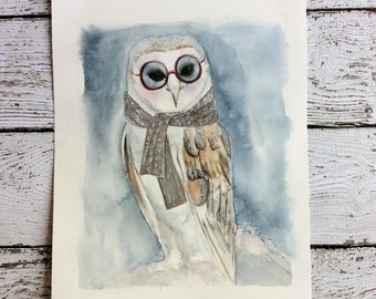Original 8 x 10 Owl Watercolor
