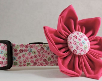 Dog Collar  with Flower - He Loves Me - All Sizes