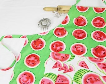 Watermelon Slices on Green Adult Apron with white watermelon pocket