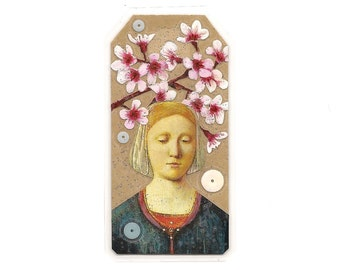 pocket shrine - mini collage art - pocket Madonna - art tag - small art - altered art - little art