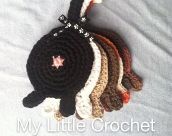Set of 6 crochet cotton Cat Butt Coasters Cat Lady Humor kitty clowder black white orange brown tortie tabby
