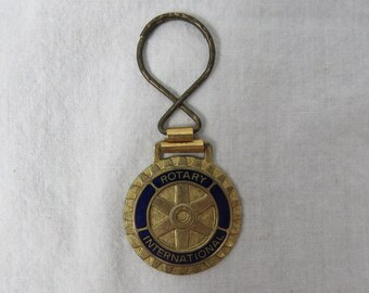 Vintage 70s Rotary International Service Club Automobile Keychain - Key fob  - Gift for Dad