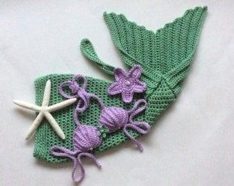 Crochet mermaid photo prop, 4 sizes, handmade, baby shower mermaid gift, mermaid baby outfit, 3 piece set, nautical baby, beach photo prop
