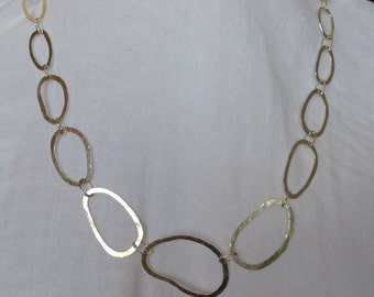 Unique River Stone Inspired Handmade Sterling Silver Graduated Link Chain