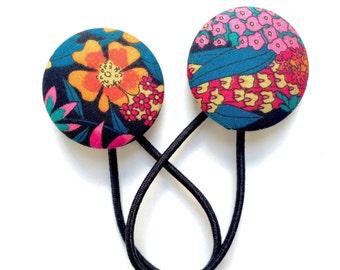 Liberty of London 2015 Hair Elastics Set - Fun Modern Floral Covered Button Hair Ties