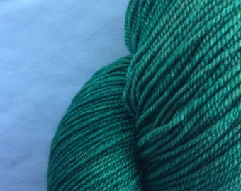 "New line - Exotic Yarns, Hand-dyed Hand-Painted, 400 yds Semi-Solid Green 60/20/20 SW Merino Yak Silk, Fingering Weight ""Emerald City"""