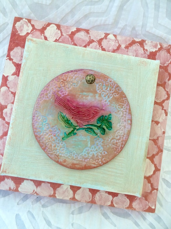 Bird Art, Ceramic Wall Art, Handpainted Tile Art, Bird Wall Art, Ceramic Art, Red Bird, Textured Ceramic, Pottery Art, Wall Tile