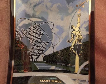 Houze Art Glass 1964-1965 New York World's Fair Main Mall Trinket Tray