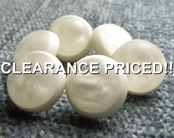 """CLEARANCE! Frosted Glow: 7/16"""" (11mm) Half Ball Dome Buttons - Set of 6 White Marbled New / Unused Buttons"""