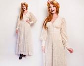 Vintage GUNNE SAX Dress - 60s Black Label Rare White Peasant Gown 60s - Small