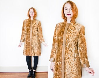 RESERVED ON LAYAWAY -  Vintage 1960s Coat - Faux Fur Animal Print Brown Leather 60s - Medium / Small