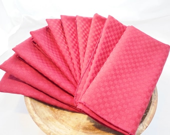 "Vintage Lot / Set of 10 Red / Burgundy Cloth Napkins 16"" Square Valentines Linens Table Linens Retro"