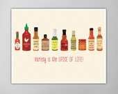 Hot Sauce Chart Art Print, Hot Sauce Chart Print, Cooking Print, Art Print, Kitchen Decor Art Print, Hot Sauce Poster, Hot Sauce Art Print