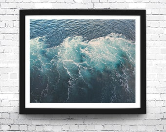 Ocean Waves Art Print, Blue Waves, Coastal Photo, Beach House Decor, Aqua Wall Art, Blue Beach Print, Coastal Wall Art, Blue Waves Poster