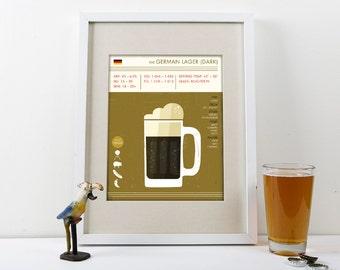 German Dark Lager Art Print, Lager Art Print, Beer Print, Beer Poster, Lager Print, Digital Beer Print, Lager Beer Poster, Beer Art Print