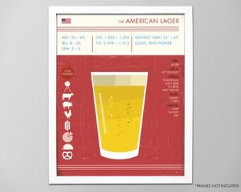 American Lager Art Print, Beer Print, Beer Poster, Lager Print, Digital Beer Print, Lager Beer Poster, Beer Art Print, Art for Bar, Beer Art