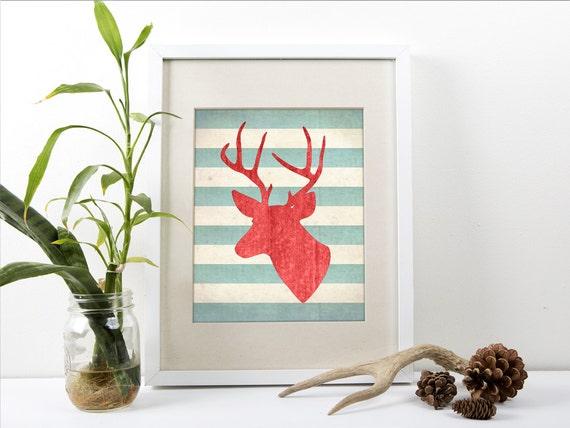 Deer With Antlers Art Print Modern Antler Wall Art Print
