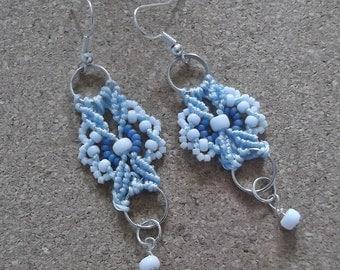 Micro macrame earrings. Lacey earrings.