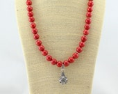 Coral Jade Necklace with Pendant.  Gemstone Necklace.  Coral Necklace.
