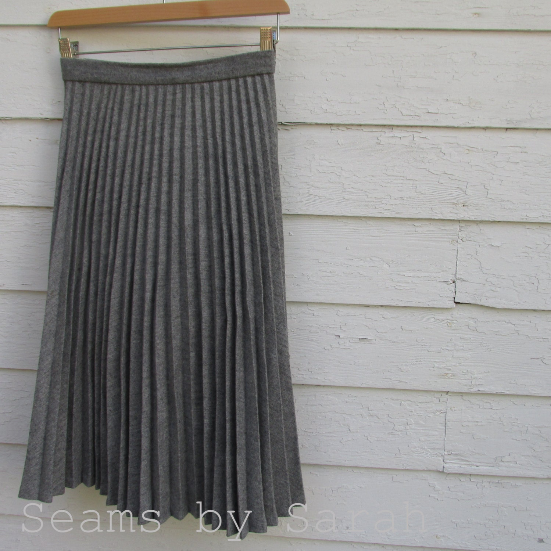 grey wool accordion pleated skirt 25 waist
