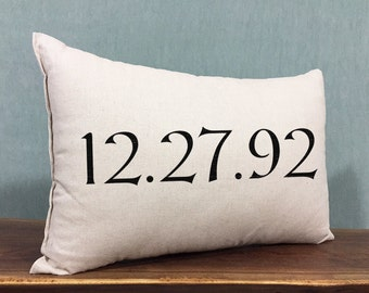 Personalized Wedding Date Pillow, Wedding Wedding Gift, Custom Anniversary Date Pillow, Cotton Linen Home Decor Pillow, Personalized Gift