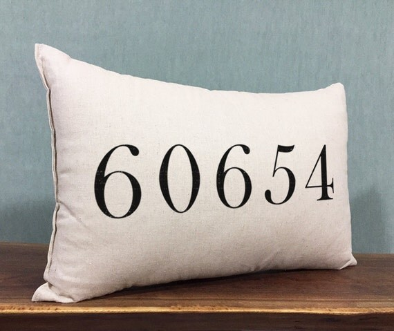 Personalized zip code home decor pillow cotton linen fabric