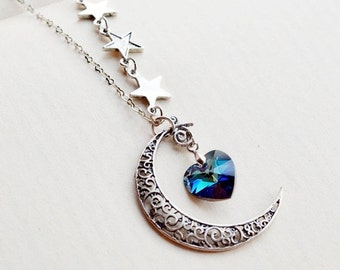 ON SALE Crescent Moon and Star Necklace, Moon Necklace, Astrology Sign, Heart Jwelry, Moon Charm, Swarovski Bermuda Blue Heart, Love You to