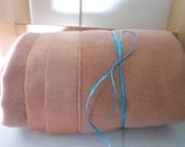 Vtg CANNON Blanket Leaksville Rose/Peach Wool