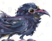 8 x 10 Raven Art Print, Colorful Raven Art, Wildlife Art