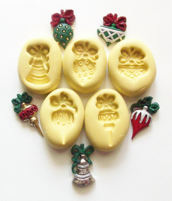 Christmas ornaments 5 Molds 203 silicone mold for by MiniMolds
