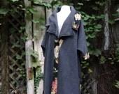 Women's Long Fleece Coat,Oversized Coat,Boho Coat,Cottage Chic Coat,Size 1X-3X Coat,by Nine Muses Of Crete