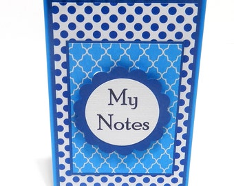 Blue Polka Dots: Mini Spiral Memo Pad- 3 x 5 inches