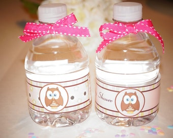 Look Who's Having a Baby? water bottles, baby shower labels, party favor, girl water bottle labels, owls,owls water bottle labels