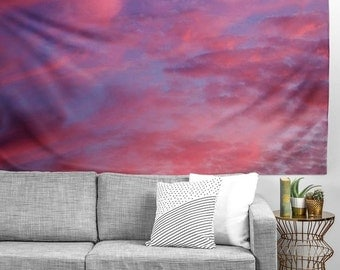 Wall Tapestry. Dorm Wall Decor. Large Wall Art. Sunset Night Sky. Colorful Clouds. Pink. Blue. Purple. Dreamy.