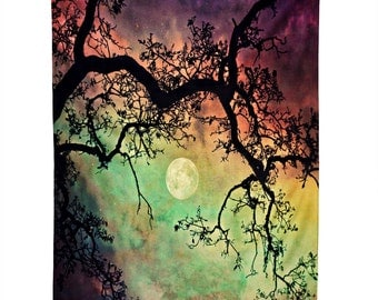 Night Sky Wall Hanging. Wall Art. Tapestry. Sunset. Aurora. Stars and Moon. Dorm Decor. Girly Home. Dreamy Photography. Trees. Colorful