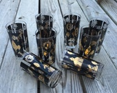 Tumblers Glasses Mid Century Modern Black and Gold